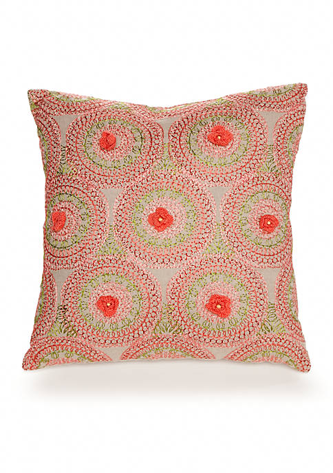 Amrita Medallion Crochet Flowers Decorative Pillow 16-in. x 16-in.
