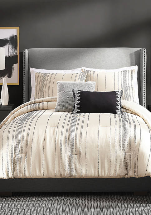 Ayesha Curry 3 Piece Slate Stripe Comforter Set