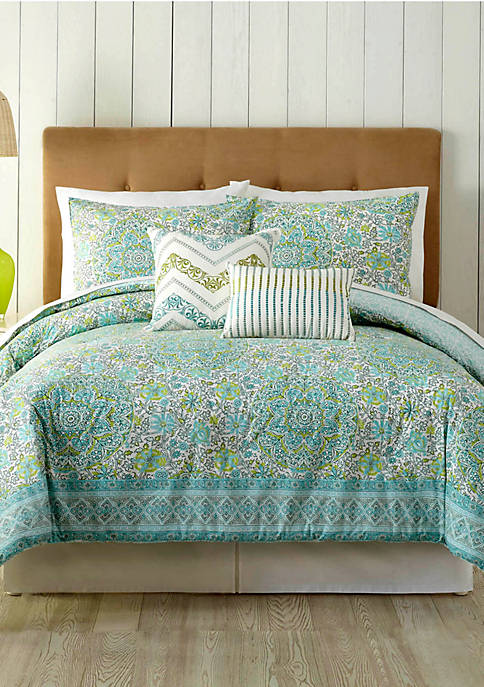 Indigo Bazaar Stamped Indian Floral Queen Comforter 5-Piece