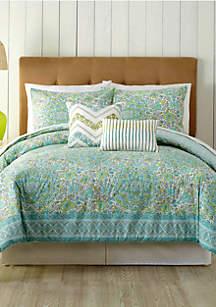 Stamped Indian Floral Queen Comforter 5-Piece Set
