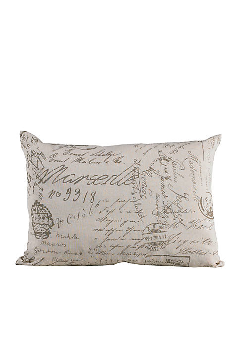HiEnd Accents Fairfield Script Oblong Decorative Scroll Pillow
