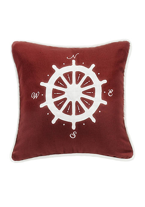 HiEnd Accents Compass Embroidery Pillow