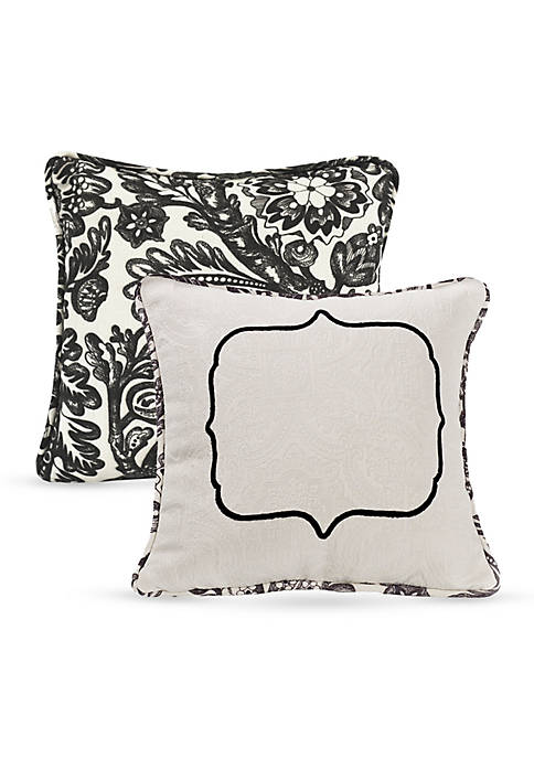 HiEnd Accents Matelasse Decorative Pillow with Embroidery Detail