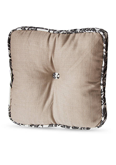 HiEnd Accents Buttoned Boxed Decorative Pillow With Toile