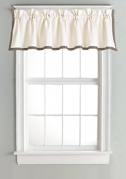 HiEnd Accents Matelasse Valance with Greek Key Trim