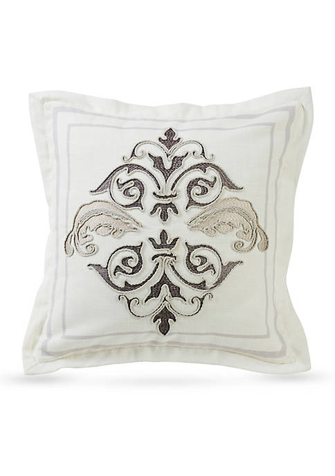 Square Outlined Embroidered Design Decorative Pillow with Flange