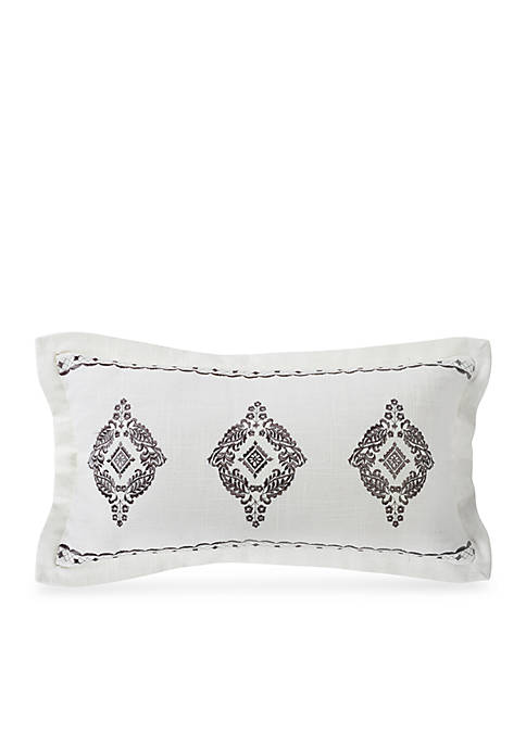 HiEnd Accents Oblong Embroidered Lace Design Pillow with