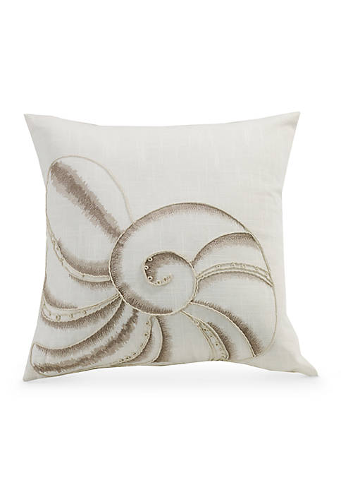 HiEnd Accents Newport Seashell Embroidery Decorative Pillow
