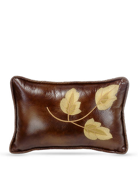 HiEnd Accents Highland Embroidery Leaf Decorative Pillow