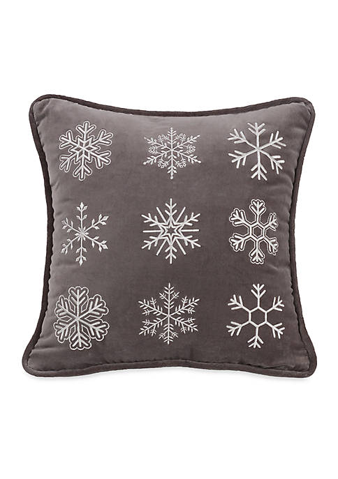 HiEnd Accents Whistler Square Snow Flake Pillow 18-in.