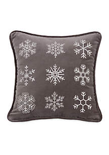 Whistler Square Snow Flake Pillow 18-in. x 18-in.