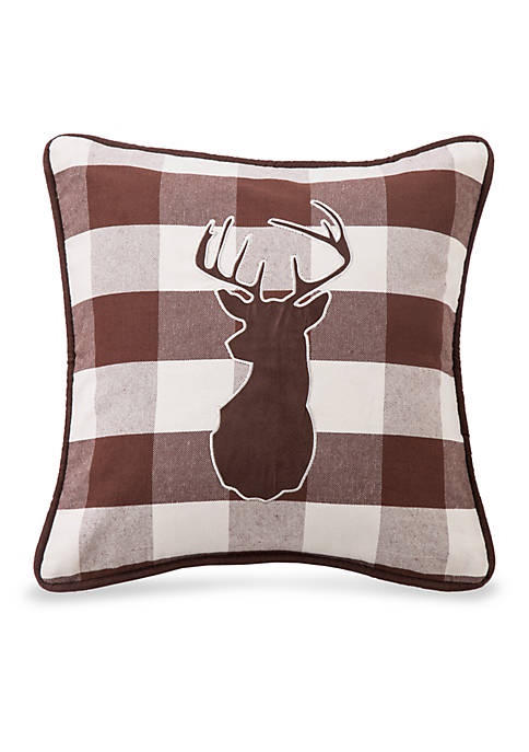HiEnd Accents Huntsman Embroidered Deer Pillow