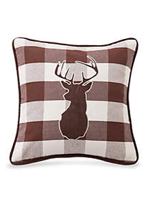 HiEnd Accents Huntsman Embroidered Deer Pillow