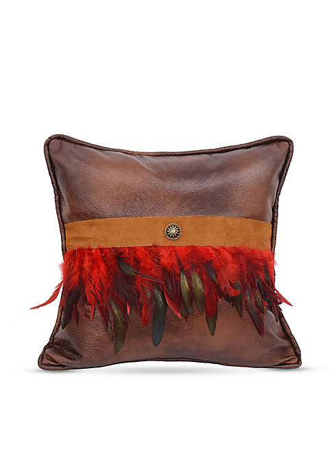 HiEnd Accents Faux Leather Decorative Pillow with Feathers