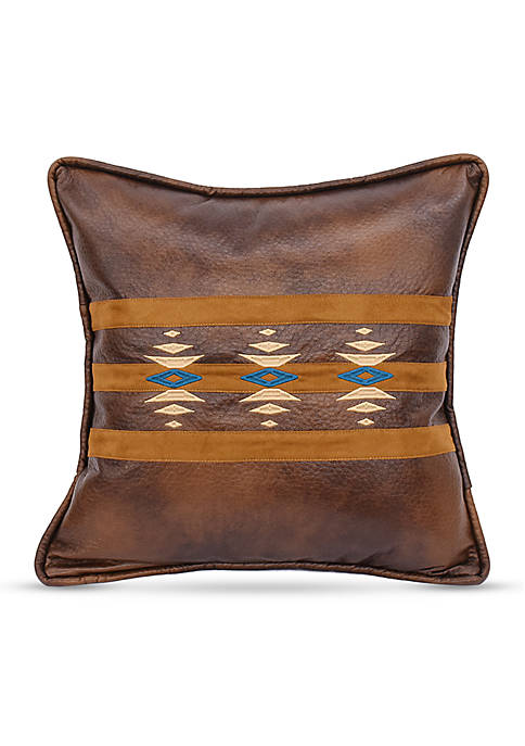 HiEnd Accents Faux Leather Southwestern Embroidered Decorative