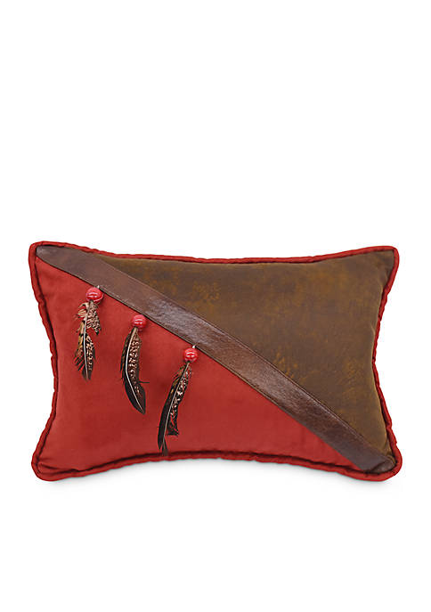 HiEnd Accents Faux Leather Decorative Pillow With Beads