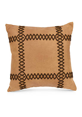 Faux Leather Decorative Pillow with Lacing