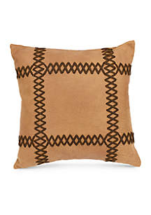 HiEnd Accents Faux Leather Decorative Pillow with Lacing