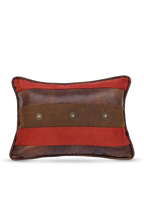 HiEnd Accents Faux Leather Decorative Pillow with Faux