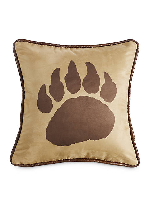 HiEnd Accents Faux Suede Bear Claw Decorative Pillow