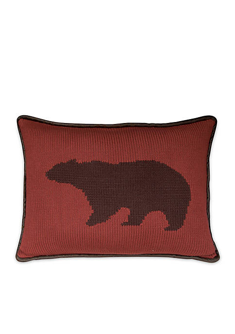 Hand Knitted Bear Accents Pillow 16-in. x 21-in.