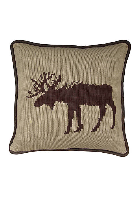 HiEnd Accents Wilderness Ridge Moose Decoractive Pillow 17-in.
