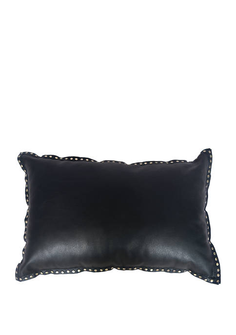 16 in x 24 in Eurosoft Leather Pillow with Studded Flange