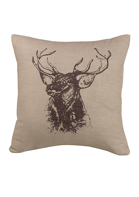 HiEnd Accents Briarcliff Elk Bust Decorative Pillow 18-in.
