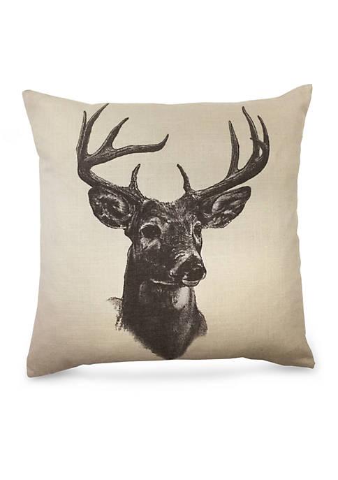 HiEnd Accents Whitetail Deer Linen Print Decorative Pillow