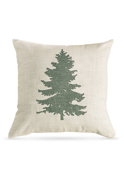 HiEnd Accents Green Pine Tree on Linen Decorative