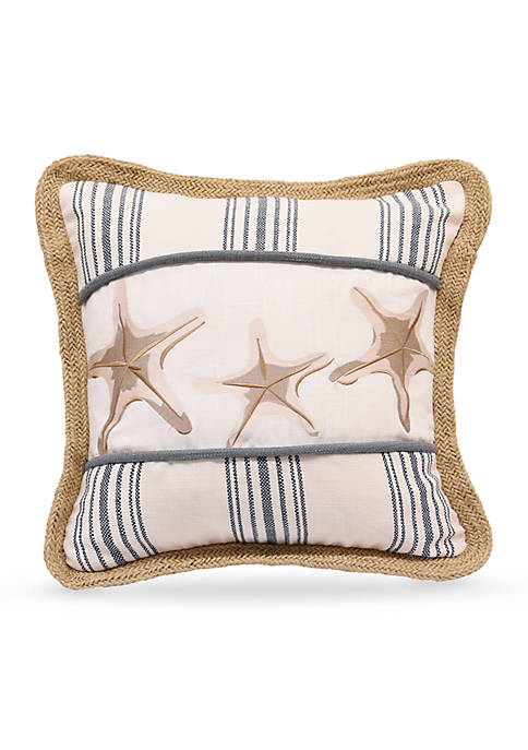 HiEnd Accents Starfish Cotton Decorative Pillow With Embroidery