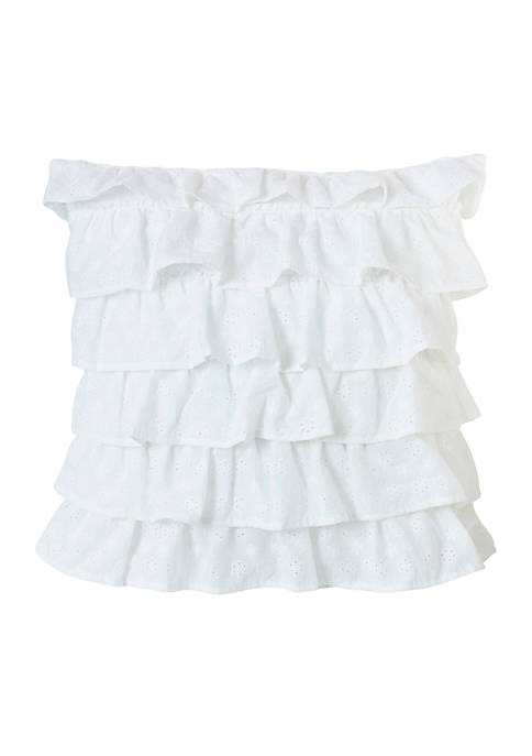HiEnd Accents Tiered Ruffled Eyelet Pillow