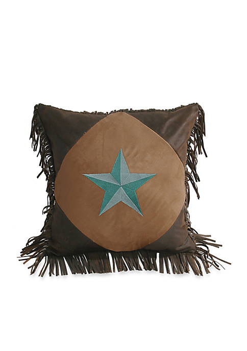 HiEnd Accents Laredo Star Fringe Square Pillow 18-in.