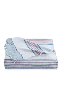 Welsh Stripe Wool Blend Throw Canal Blue
