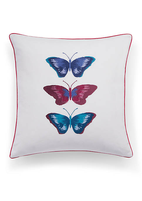 bluebellgray® Embroidered Butterflies Decorative Pillow 16-in. x