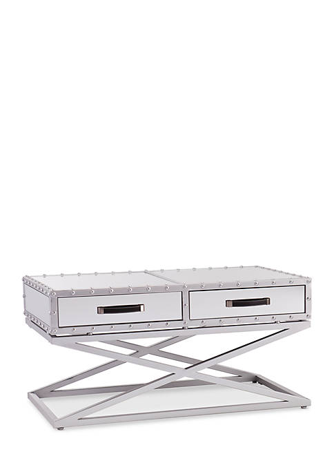 Southern Enterprises Lazio Industrial Mirrored Cocktail Table