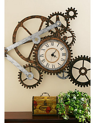 Southern Enterprises Steampunk Wall Art With Clock