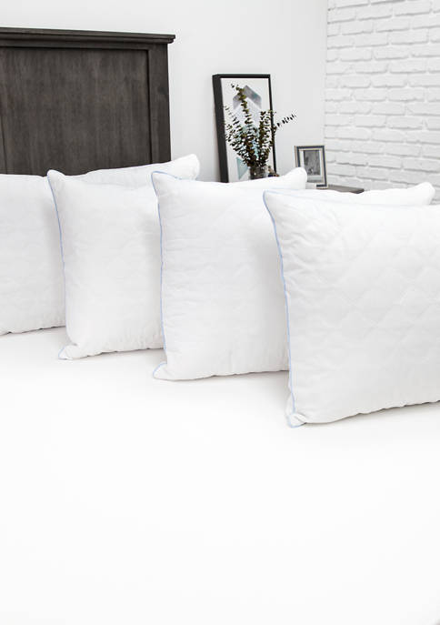 Fiber Bed Pillow with Cotton Fabric and 250 Thread Count Cotton Zippered Pillow Cover