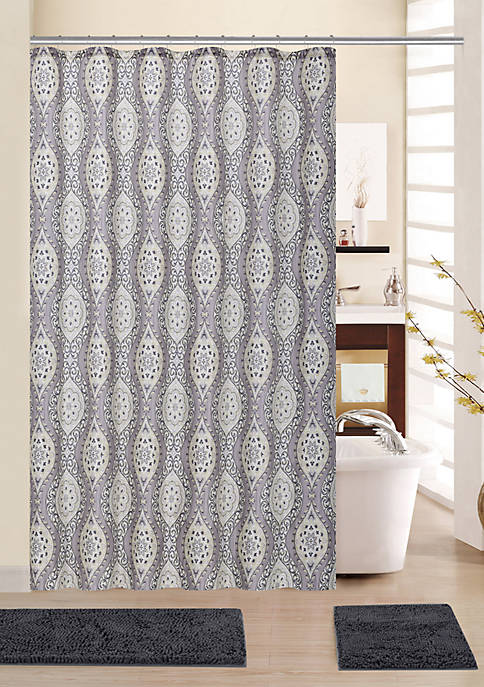 Moonlit Medallion 15 Piece Shower Curtain Bath Mat Set