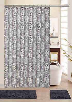 Anna Red Black Floral 15-Piece Bathroom Accessory Set 2 Bath Mats Shower Curtain