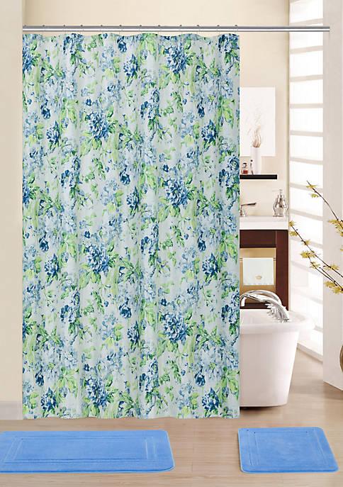 Floral Engagement 15 Piece Shower Curtain Bath Mat Set