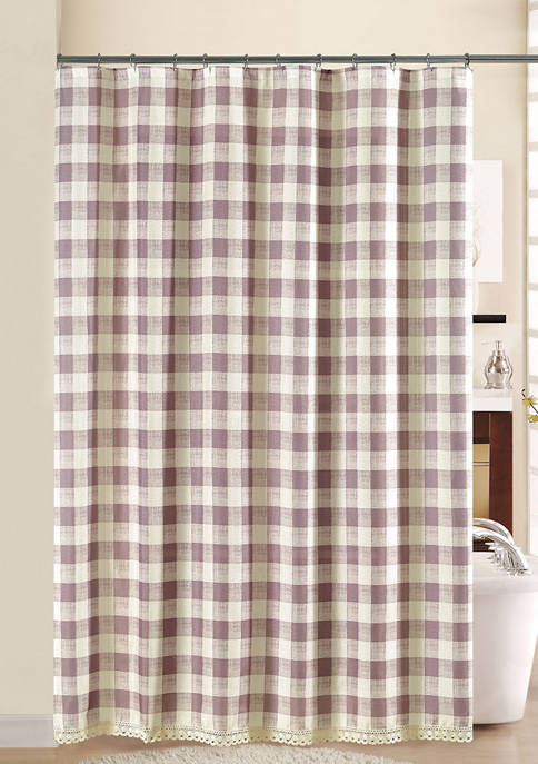 Southern Belle Check Lace Shower Curtain