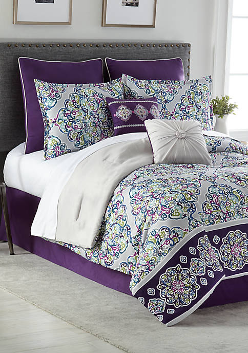 Home Accents® Violet 8-Piece Comforter Bed-In-A-Bag