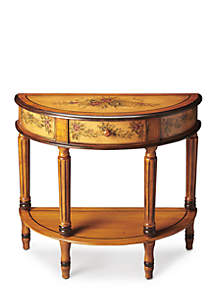 Mozart Light Hand Painted Demilune Console Table