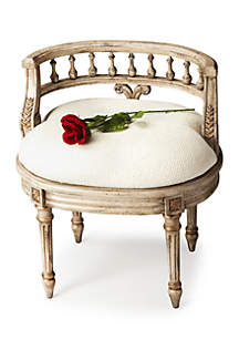 Hathaway Gilted Cream Vanity Seat