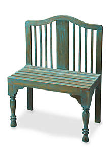 Roseland Blue Solid Wood Bench