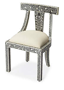 Victorian Garden Black Bone Inlay Accent Chair