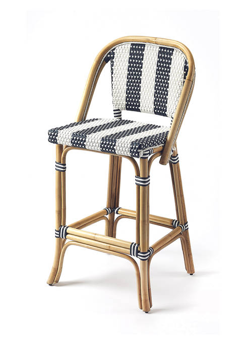 Butler Specialty Company Lila Stripe Rattan Bar Stool