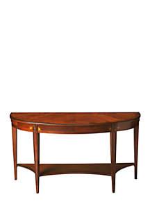 Astor Olive Ash Burl Demilune Console Table