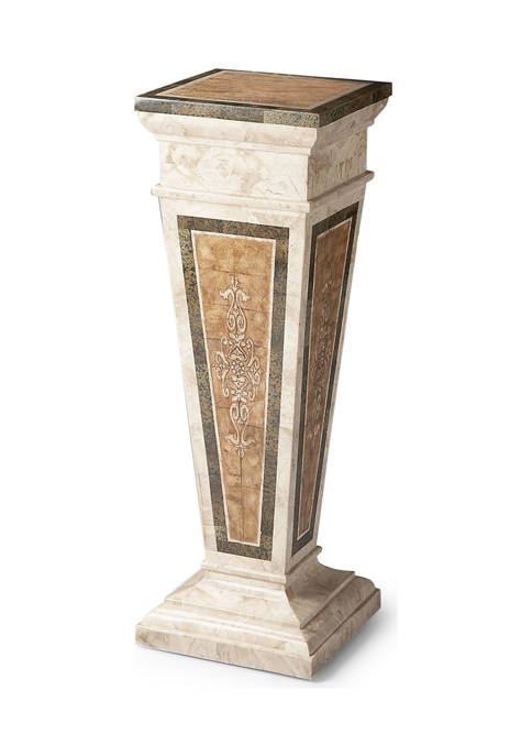 Augustus Etched Fossil Stone Pedestal